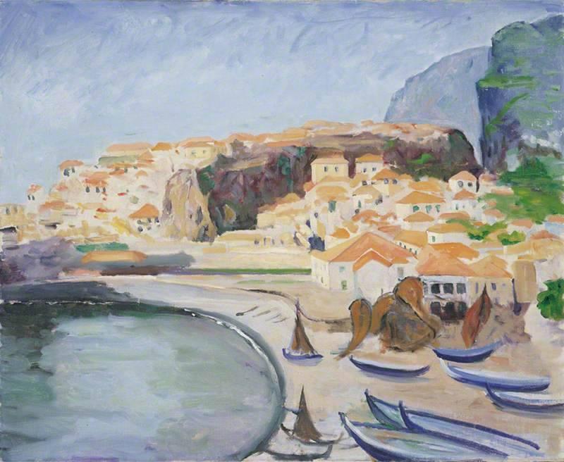 Churchill festménye a kikötőről