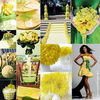 Sárga dekoráció az esküvőn