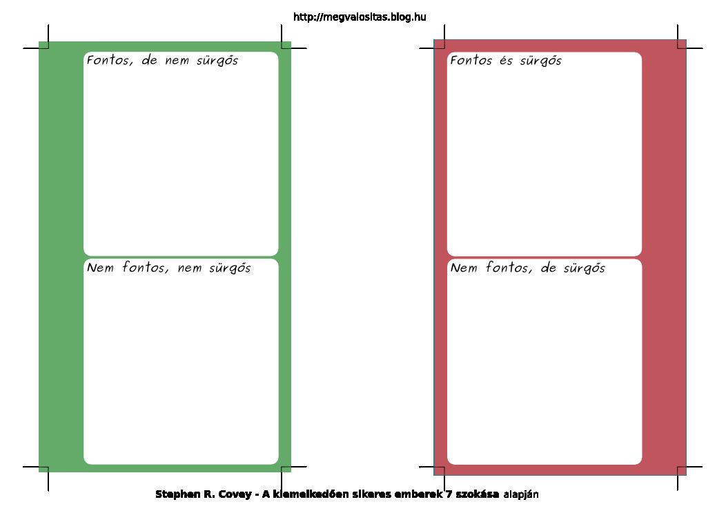 Filofax priorizáló nyomtatási kép