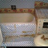 Fürdőszoba, maradék tapétákból