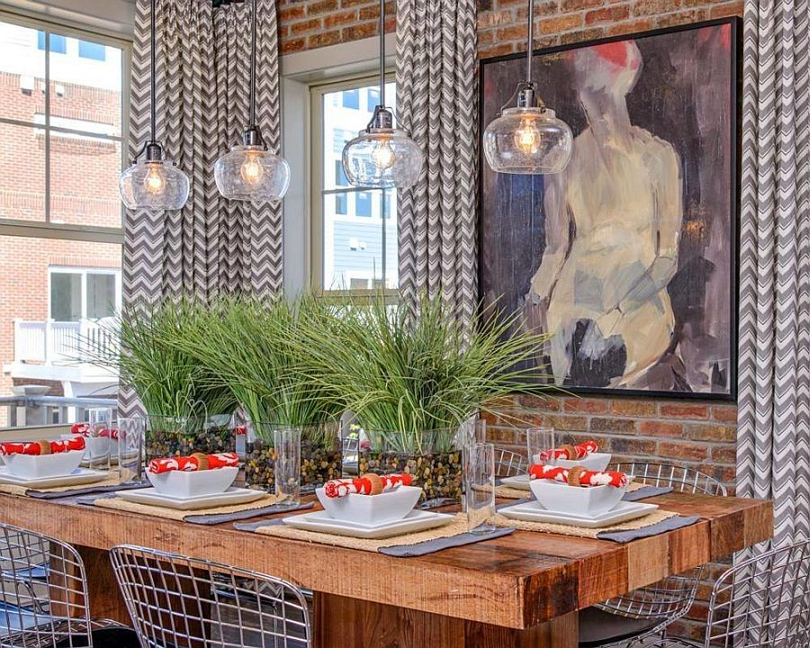 drapes-with-chevron-pattern-for-the-small-industrial-dining-space.jpg