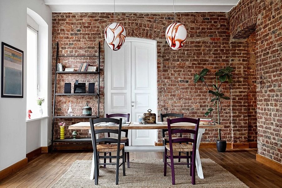 ladder-shelf-and-snazzy-pendants-for-the-contemporary-dining-room-with-brick-walls.jpg