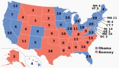 A 2012-es elnökválasztás eredményei, államra lebontva. (forrás: wiki)