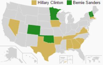 A 2016-os demokrata előválasztás eddigi eredményei. (forrás: wiki)