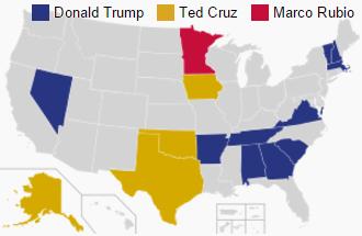 A 2016-os republikánus előválasztás eddigi eredményei. (forrás: wiki)