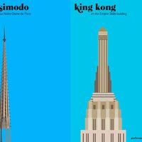 Illusztrációs város összehasonlítás:Párizs vs New York