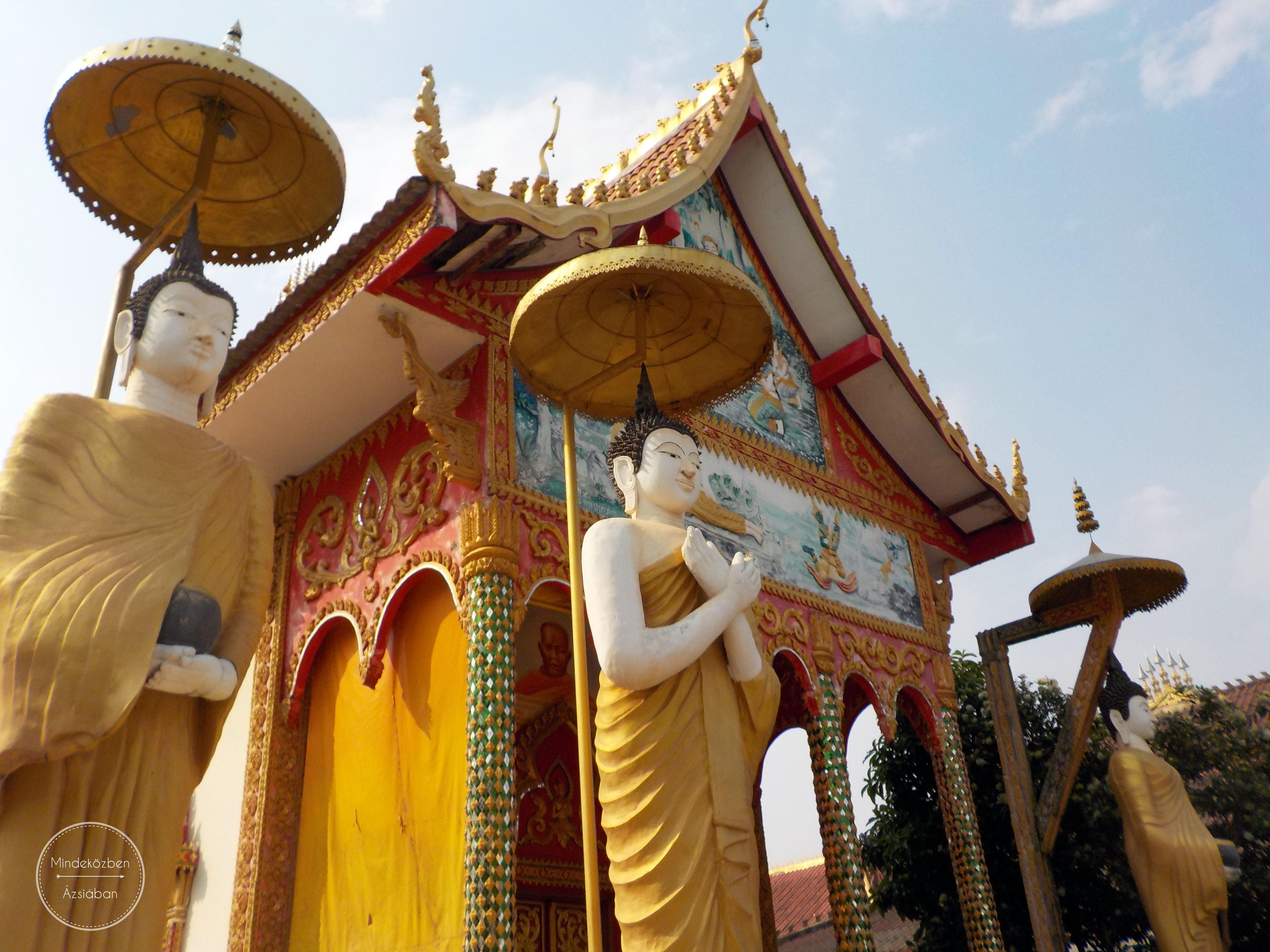 Laoszi buddhista templom.