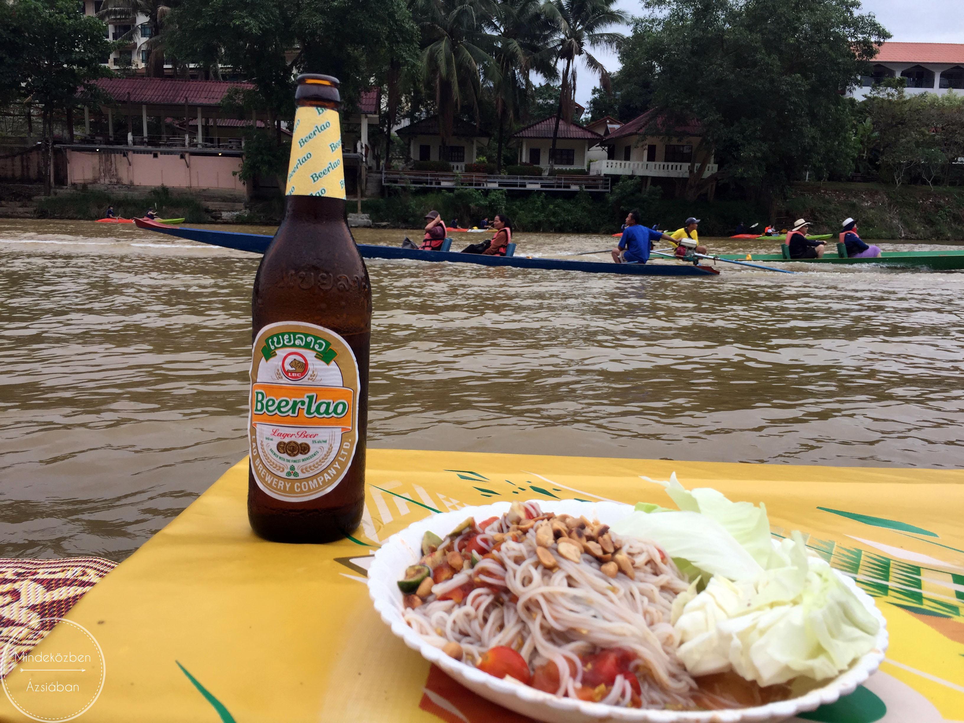 A laoszi hideg sör és a kegyetlen csípős laoszi saláta.