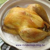 Sóágyon sült tanyasi csirke
