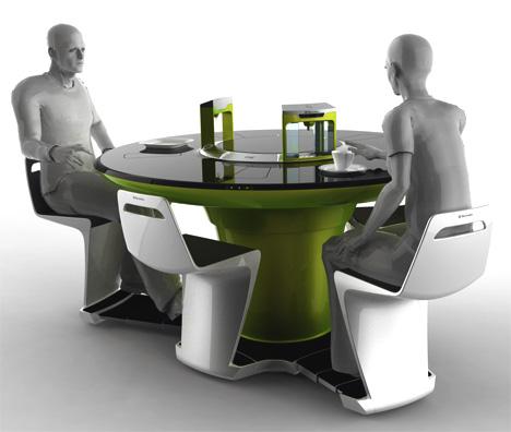 design étkezőasztal a jövőből
