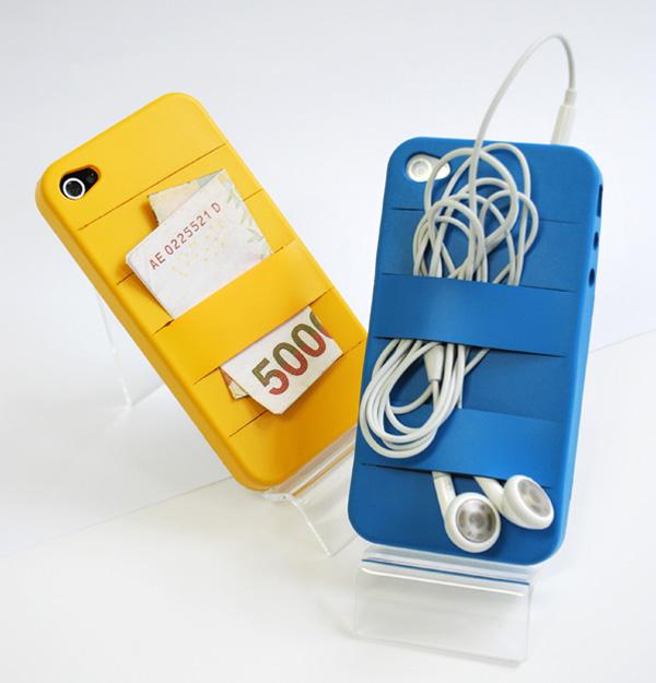 mobiltelefon tok fülhallgató és bankkártya tartóval