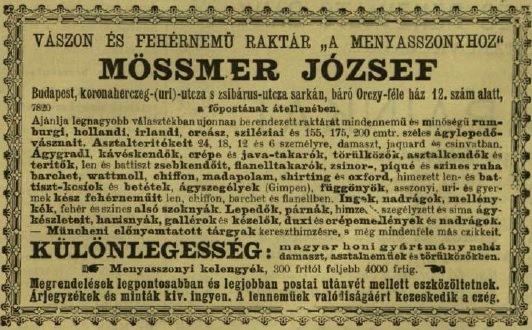 Menyasszonyi kelengye hirdetés VU 1902.jpg