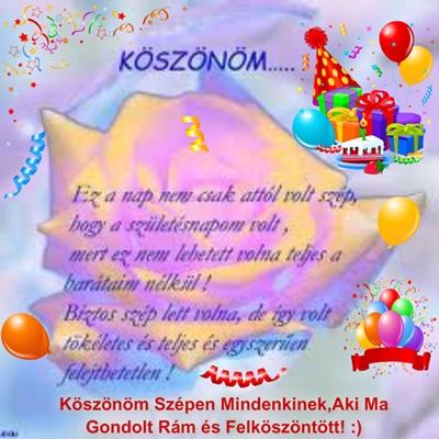 szülinapi köszöntő gyermekünknek Mindenkinek Köszönöm   MuzicaDL szülinapi köszöntő gyermekünknek