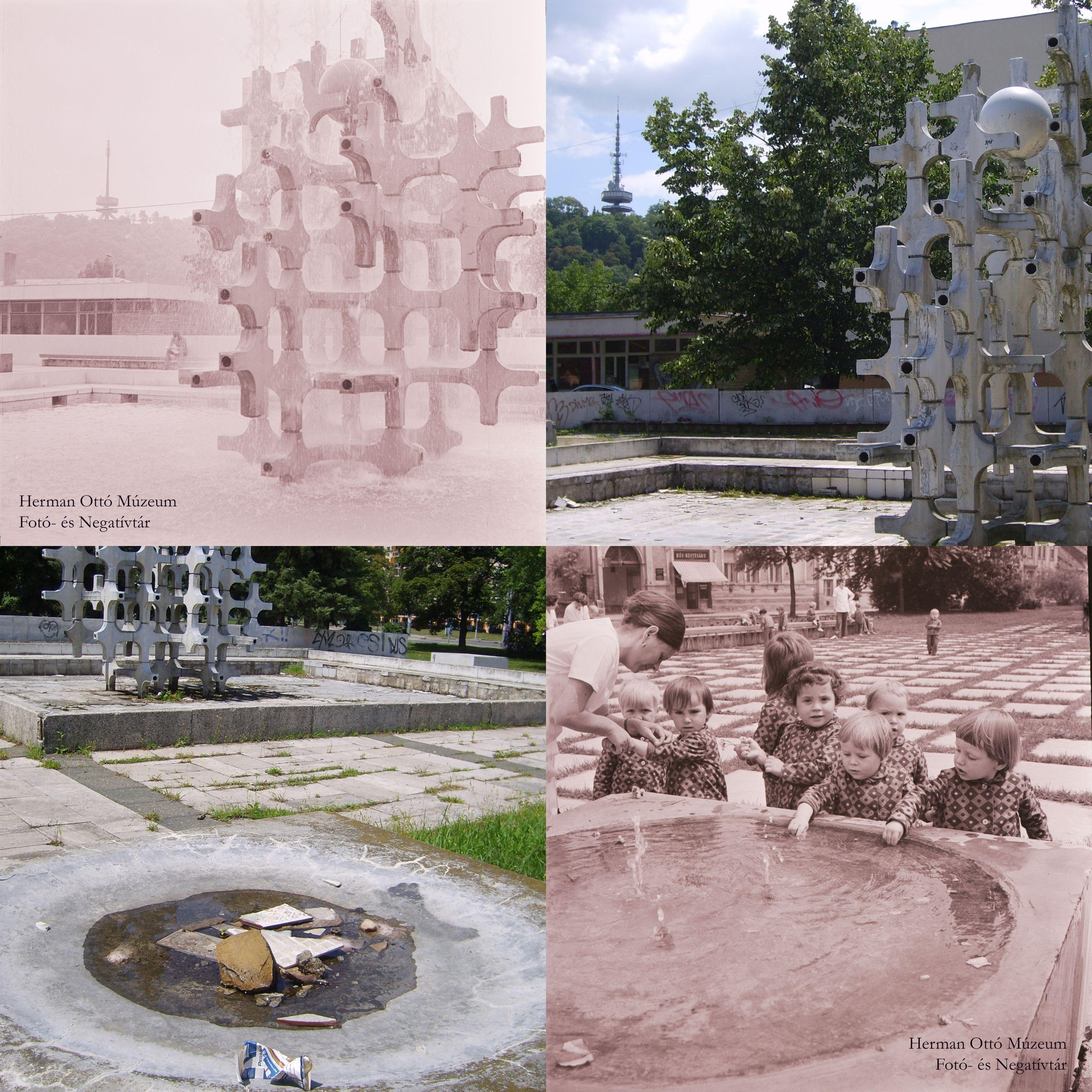 Az archív fotók forrása: Herman Ottó Múzeum Fotó- és Negatívtára. A<br />szökőkútnál. Laczó József, 1975. június 3. Leltári szám: HOM_FN_70418 és<br />HOM_FN_70414