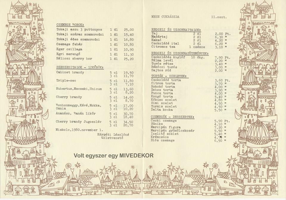 A Mese árlapja 1980-ból