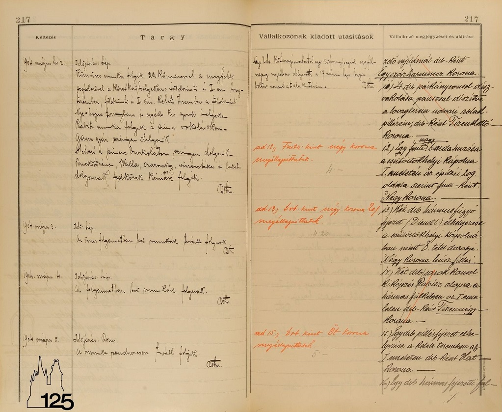 Alpár Ignác építési naplója