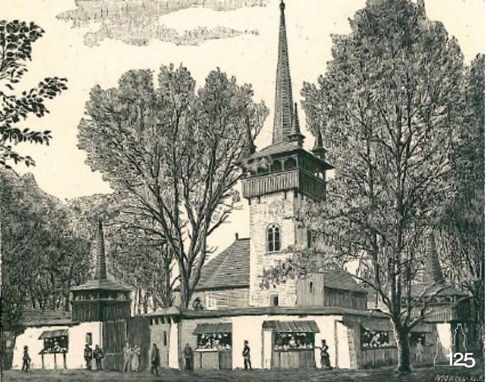 Falurészlet: Falu temploma (Képek az 1896. Ezredéves Országos Kiállításról I. füzet, MMGM Könyvtár)