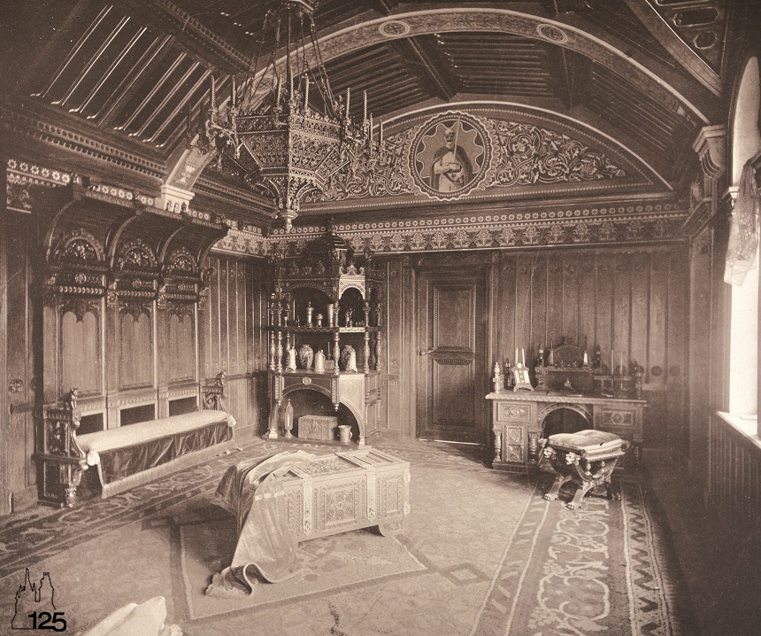 A király dolgozószobája a román stílusú épületrészben (Múzeum a Városligetben - Magyar Mezőgazdasági Múzeum, 2016.)