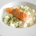 Kecskesajtos, zöldalmás krumplifőzelék lazaccal és Gourmet Fesztivál ajánló