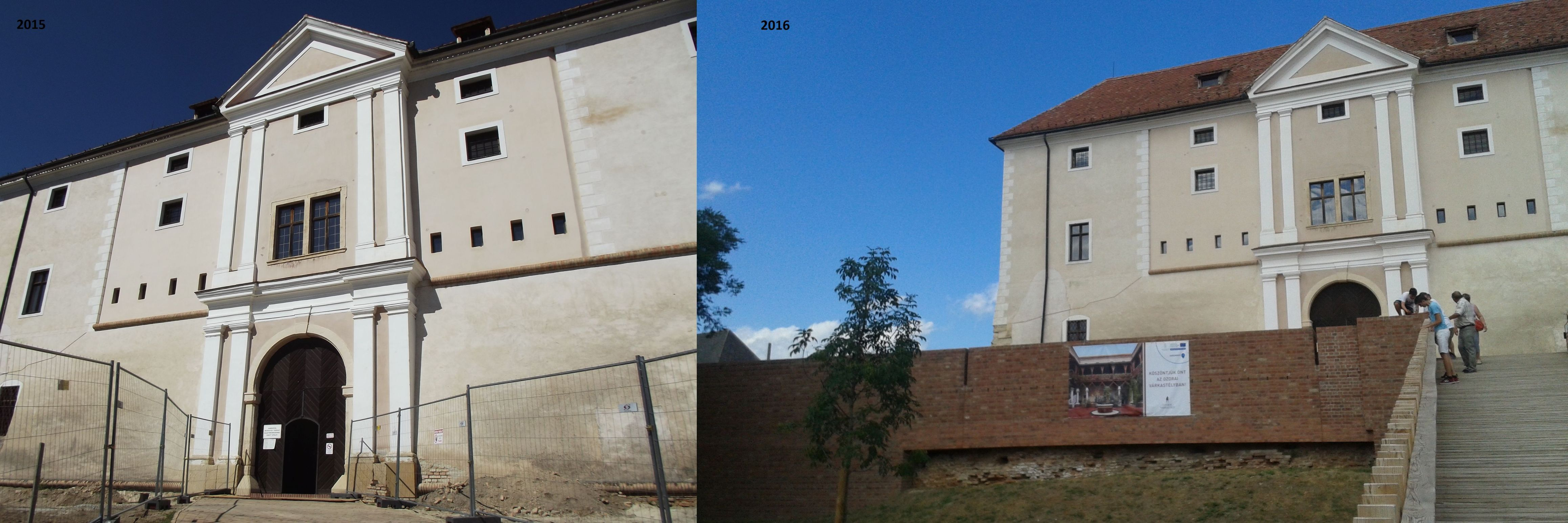 A vár bejárata 2015-ben, illetve 2016-ban