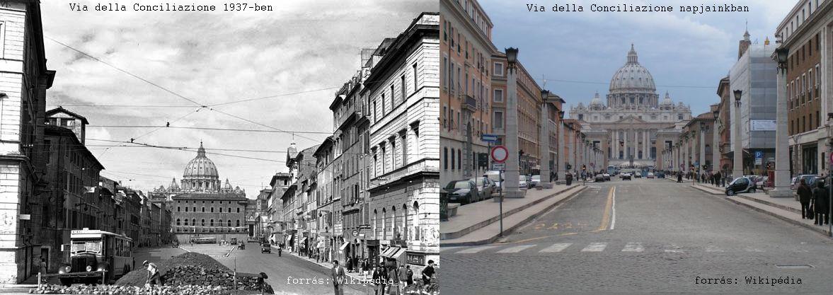 12_Via della Conciliazione 1937-ben és ma