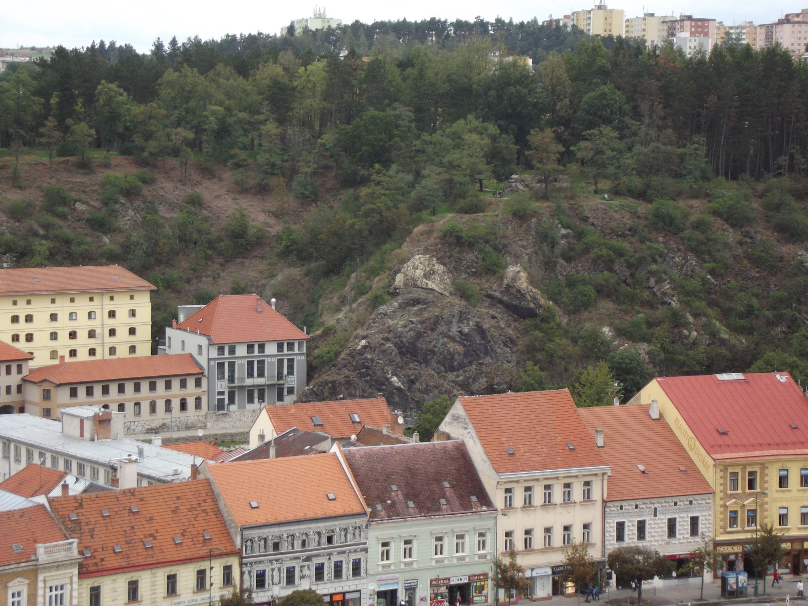 Třebič, kilátás a Várostoronyból, a Kerek-torony