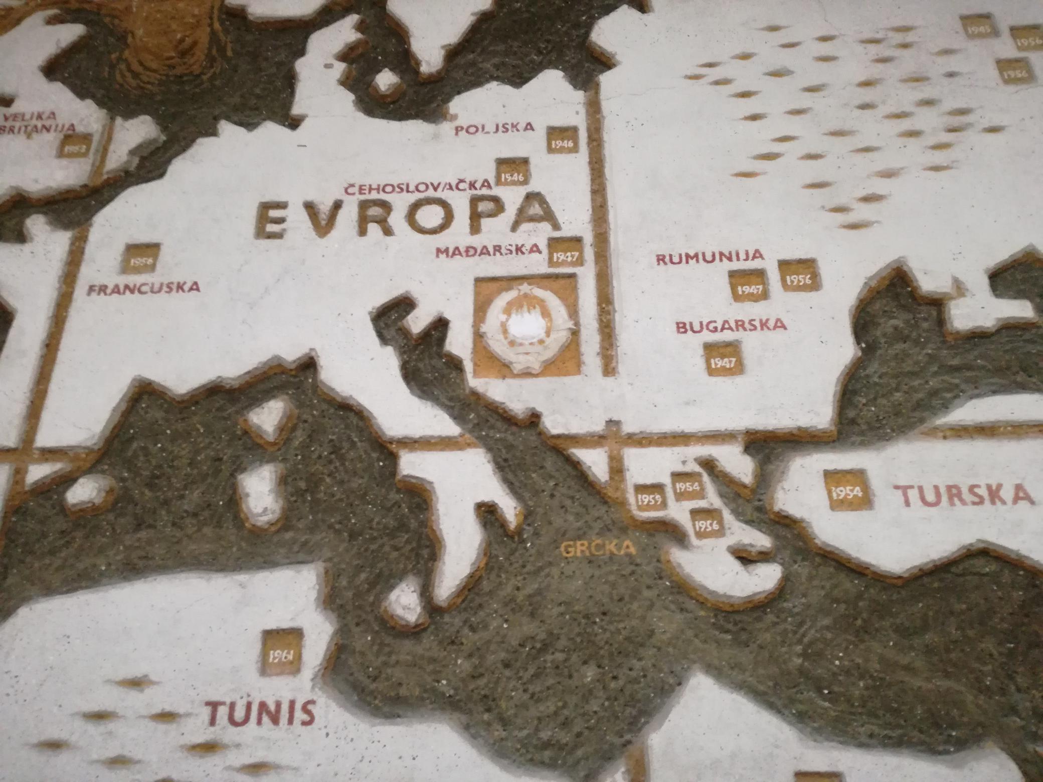 Tito utazásai térképen, rajta Magyarország