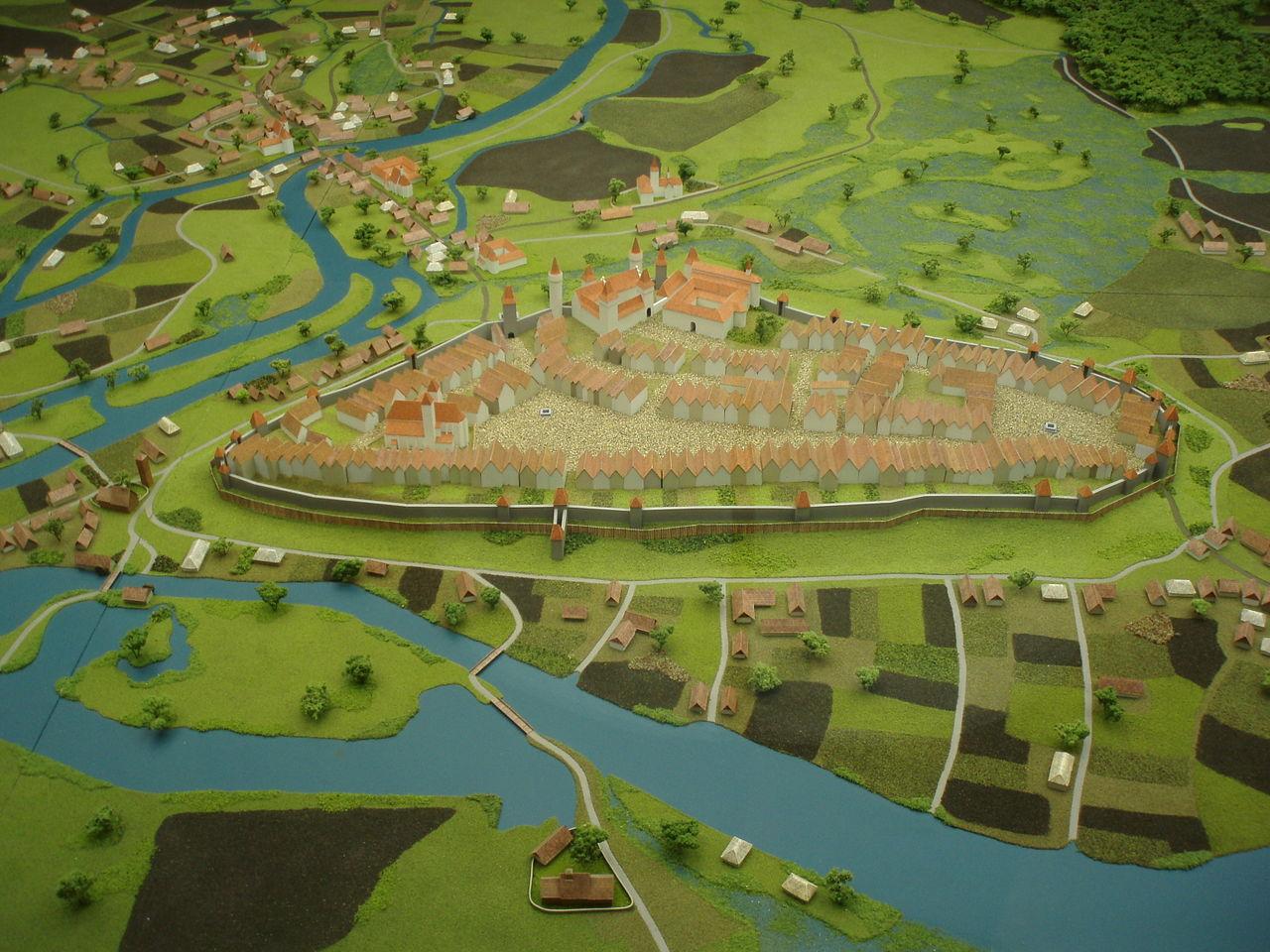 A középkori város makettje (Forrás: www.wikipedia.org)