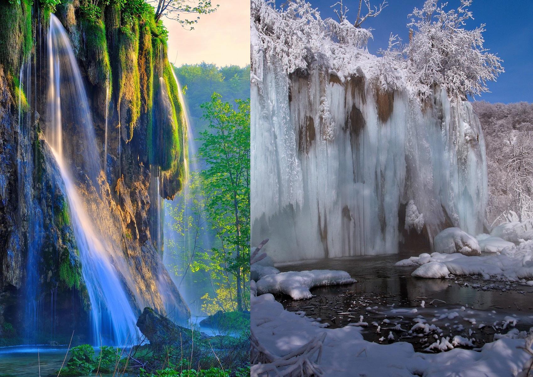 Vízesés nyáron és télen (Forrás: www.np-plitvicka-jezera.hr)