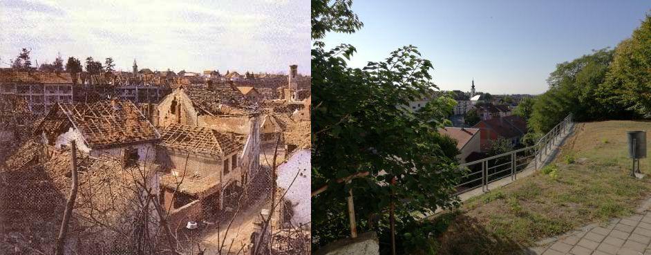 Kilátás a templom mellől akkor és most (1. kép forrása: www.tinypic.com)
