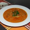 Zöldbabos birkapörkölt leves