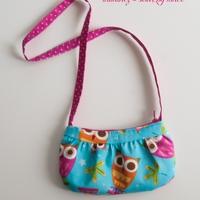 Kislány táska - türkiz bagolymintás
