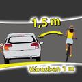 Kerékpáros előzésekor 1,5 méter a biztonságos távolság