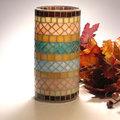 Türkiz-lazac mozaik váza és mécses egyben :)