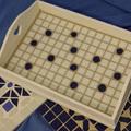 Rusztikus fehér-kék pöttyös mozaikos tálca