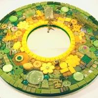 Napsárga-zöld gazdak mozaik tükör