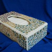Mozaikos, rusztikus vintage papírzsepitartó