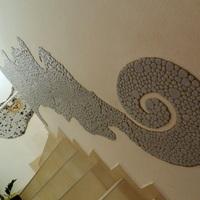 A kavicsmozaikos lépcsőforduló másik fal  - projekt  ... Már látom a fényt! :)