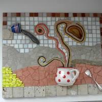 Pöttyös bögrés mozaik kép