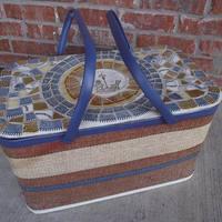 Rusztikus mozaikos piknik kosár