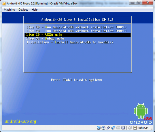 The Android-x86 boot menu
