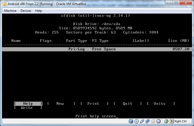 The cfdisk partition editor