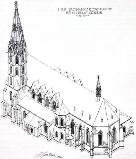 Nagy Lajos király idején új háromhajós, gótikus csarnoktemplomot emeltek. (Forrás: http://www.belvarosiplebania.hu)