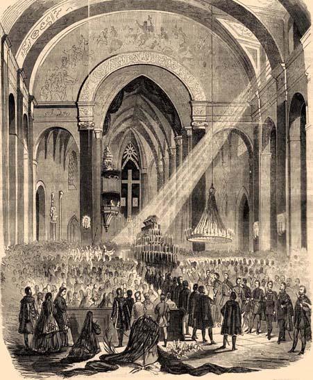 Gróf Széchenyi István gyászravatala 1860. április 30-án. (Forrás: http://www.belvarosiplebania.hu)