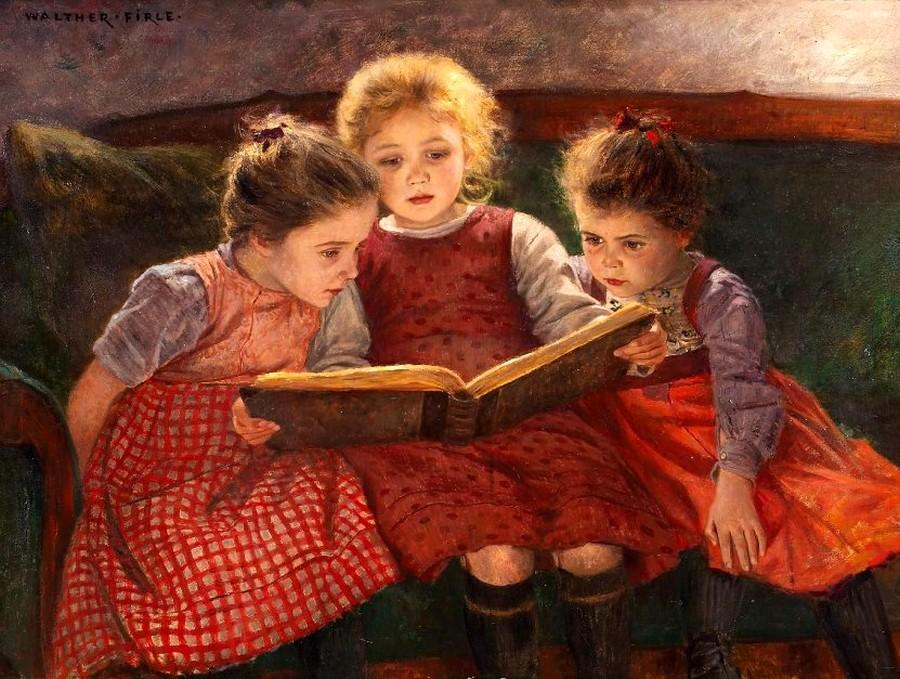 by_walter_firle_1859_1929_the_fairytale_three_reading_girls-999833.jpg
