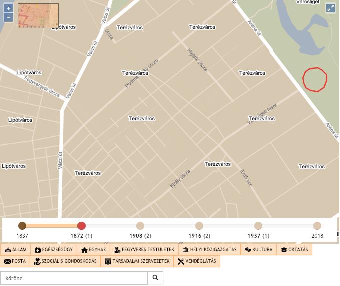 1872. Kezd alakulni a városszerkezet, jóval több utcát fedezhetünk fel. Az Andrássy út (először majd Sugárút) még nincsen készen. Az utcanevek jelentősen eltérnek a mai utcanevektől.