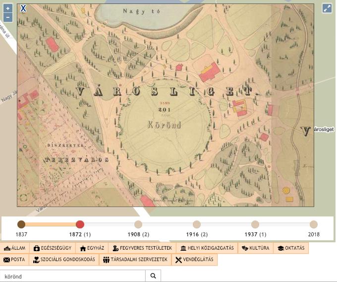 """1872.: Érdekesség, hogy ebben az időszakban is van egy """"Körönd' nevű hely, de nem ott, ahol napjainkban. A Városliget oldalában található nyolcszögletű területet illetik ezzel a névvel."""
