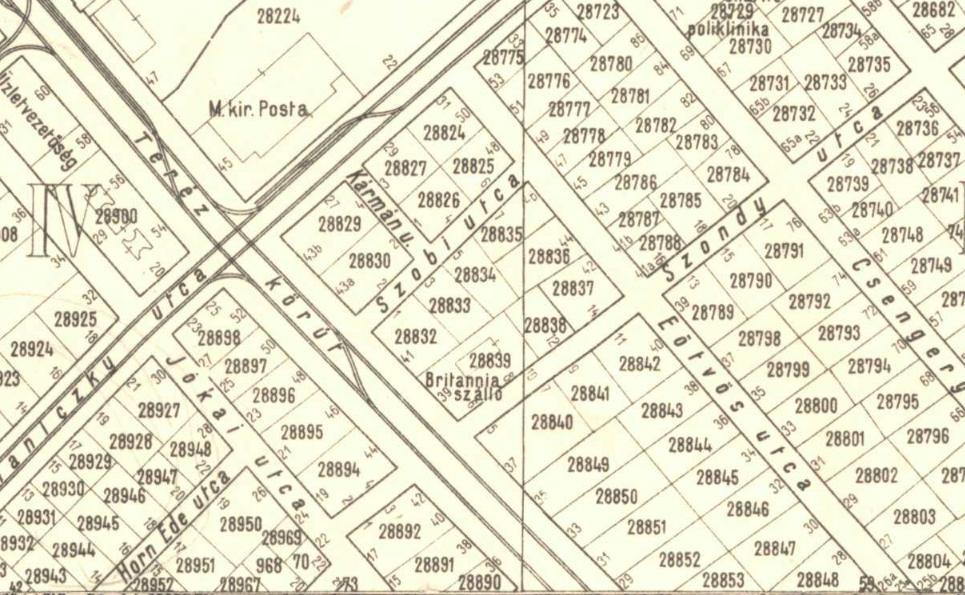 1937. Jól kivehetően szerepel a térképen, hogy Britannia Hotel.