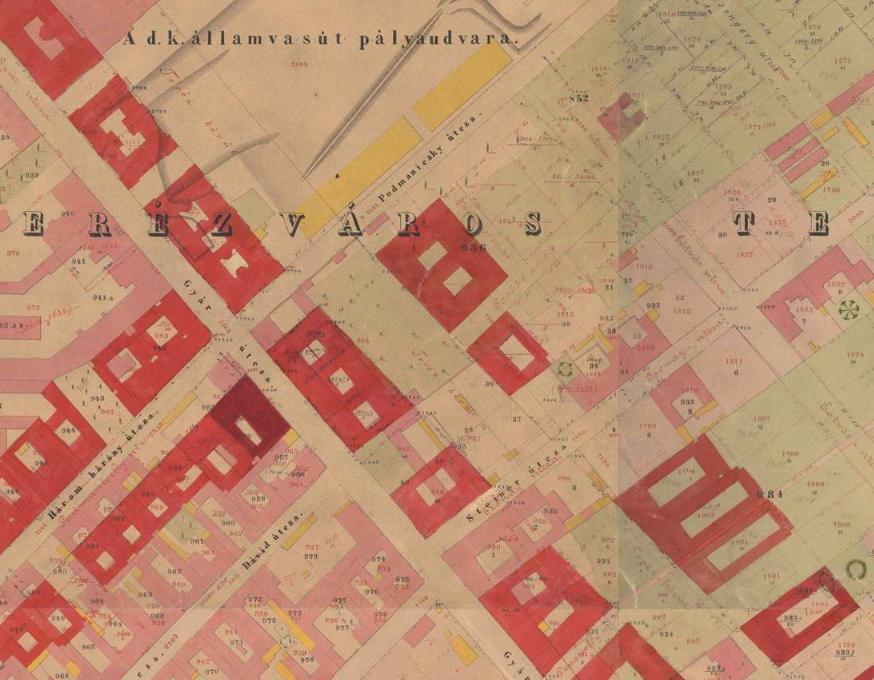 1872. Az utcák nevei még teljesen mások, csak a Podmaniczky utca neve ugyanaz.
