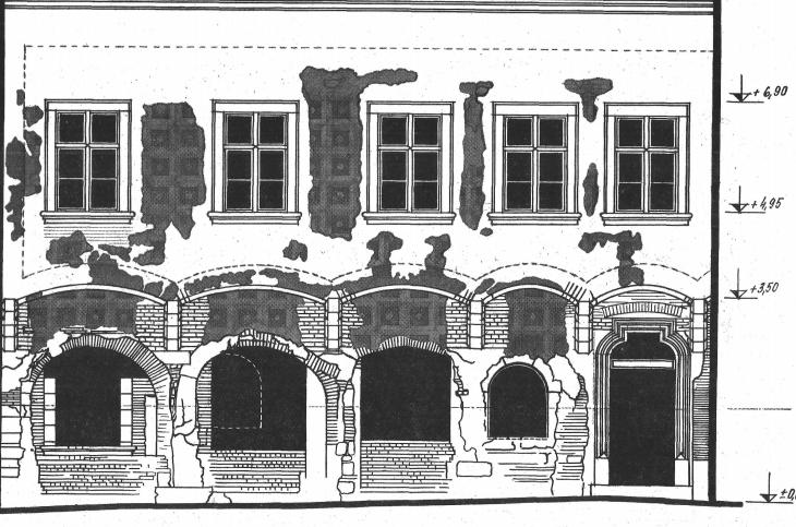 Az épület utcai homlokzatának kutatási, felvételi rajza.